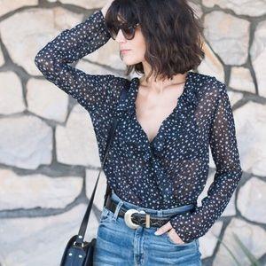 Zara Navy Blue and White Star Ruffled Bodysuit